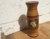 Hand Carved and Painted Pretty Floral Vintage VASE Flowers Wooden Vase with Glass Inlay Rustic Decor Gift Small Bouquet Display Ornamental
