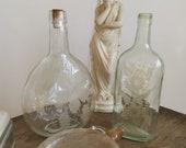 ROUNDED Cut GLASS BOTTLE Antique Rare Flower Design Vase, Vintage Eye catching Home Decor, Unique Design, Hand Cut, Crafted, European