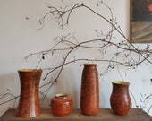 Vintage set of 4 vases and plant pots.  Glazed handmade pottery from Hungary.  Orange textured decor.  Gifts