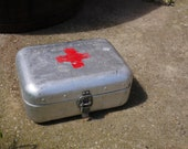 Hungarian Metal FIRST AID BOX Vintage Medical First Aid Supplies Aluminum Tin Box Military Collectible Army Medicine Box, Old and Nostalgic