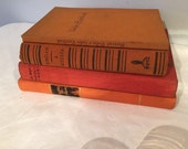 VINTAGE BOOK Collection Set For Creating Visual Displays for Photos Wonderful Orange/Red Colours Well Stacked includes Moulin Rougue