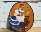 Wooden WALL HANGING Plate  Vintage Folk Spinning Wool on Wheel Decor, Beautiful Plate for Collection or Wall Decoration, Hungarian Hand Made