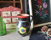 KALOCSA Matyo Hungarian Decorated Water Jug Pitcher or VASE Elegant, Bold, Cheerful and Bright.  Home Decor, Rustic House, Folk Art, Vintage