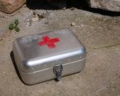 FIRST AID BOX With Original Medical Supplies Hungarian Vintage Aluminum Tin Box Military Collectible Army Medicine Box, Old and Nostalgic