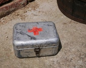 Hungarian Vintage Medical First Aid Supplies FIRST AID BOX Aluminum Tin Box Military Collectible Army Medicine Box, Metal, Old and Nostalgic
