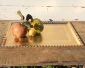 BEAUTIFUL Dainty TRAY GOLD Aluminum Serving or Display Decor Rectangle with frilly edge and intricate etching Tea Server Wine