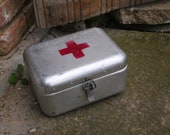 Hungarian FIRST AID BOX Vintage Medical First Aid Supplies Aluminum Tin Box Military Collectible Army Medicine Box, Metal, Old and Nostalgic