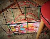 MAGAZINE RACK 1950s, Red, Green and black newspaper holder, fifties plastic & metal display stand, Eyecatching Cheerful and Unique Books