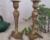Brass ornate Candlestick HOLDERS set of 2 decorative floral pattern, baroque style decor