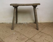 Vintage Shabby Hand-Made Milking Stool or Primitive Bedside Occasional Table