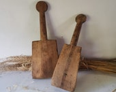 Chunky 100 year-old Rustic Hand-Carved Gnarly Butter Paddles