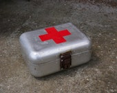 FIRST AID BOX Vintage Hungarian Medical First Aid Supplies Aluminum Tin Box Military Collectible Army Medicine Box, Old and Nostalgic