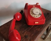 OLD Retro Rotary PHONE Red and Bold, Great Nostalgic Effect, Decor or Use Telephone. Vintage telecommunications.  Collectible