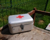 Vintage Hungarian FIRST AID BOX Medical First Aid Supplies Aluminum Tin Box Military Collectible Army Medicine Box, Metal, Old and Nostalgic