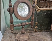 FOLK MIRROR Shaving Station, OLD Vintage Rustic Mirror Antique Wooden Swivel Looking Glass Wood Carved Natural Dressing Table Mirror Hungary