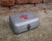 Well used Hungarian Vintage Medical First Aid FIRST AID BOX Aluminum Tin Box, Military Collectible, Army Medicine Box, Metal, Old and Nostal