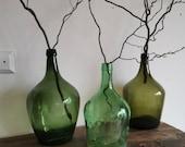 Set of 3 Green BOTTLES Vase Flower Arrangement, Demijon GLASS. Hand made Large Water Jug, Wine, Pitcher, Decorative Home vintage Hungarian