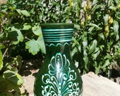 Hand Made Ceramic Vase Hanging Flower, Hungarian Folk Art Pottery, Rustic Decor, Hand Crafted, Beautiful and eye catching Floral Rich Green