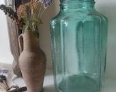 Stunning green/blue bottle pickle jar , GLASS. Hand made Large Water Jug, vase, Decorative Home vintage Romanian 5lts rustic decor