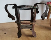 Hand Made wagon candle lamp holder, over 100 years old decorative cart light holder.  Collectible rustic decor