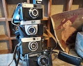 Set of 4 VINTAGE CAMERAs Russian, European, Collectible, props, decor film, flash old photography,