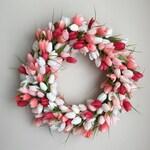 Coral Tulip Wreath - Spring Wreath - Tulip Wreath - Housewarming Gift - Wedding Decor - Spring Wedding Wreath