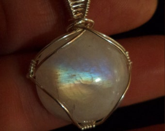 Rainbow Moonstone Sterling Silver Wire Wrap Pendant Necklace Hand Crafted June Birthstone Bridal