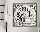 Hello Sweet Cheeks Bathroom Sign, Modern Farmhouse Wall Decor, Bathroom Decor, Antique Wall Art, Farmhouse Bathroom Sign, Vintage Style Sign