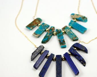 Gemstone fanned shard necklace