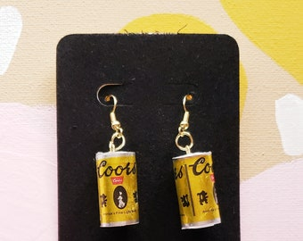 COORS BEER EARRINGS BREWERY JEWELRY GLASS BEADED BARTENDER COCKTAIL WAITRESS