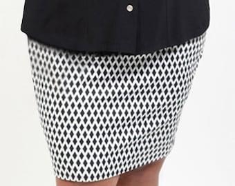 9f796830d61 Chrissa Black Plus Size Pencil Skirt Curvy Cotton Summer