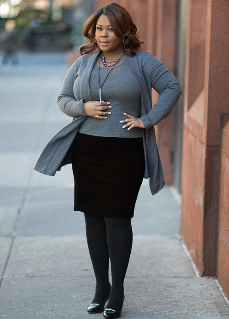 32b2c12c221c9 OLIVIA Plus Size Pencil Skirt Curvy Career wear Ponte