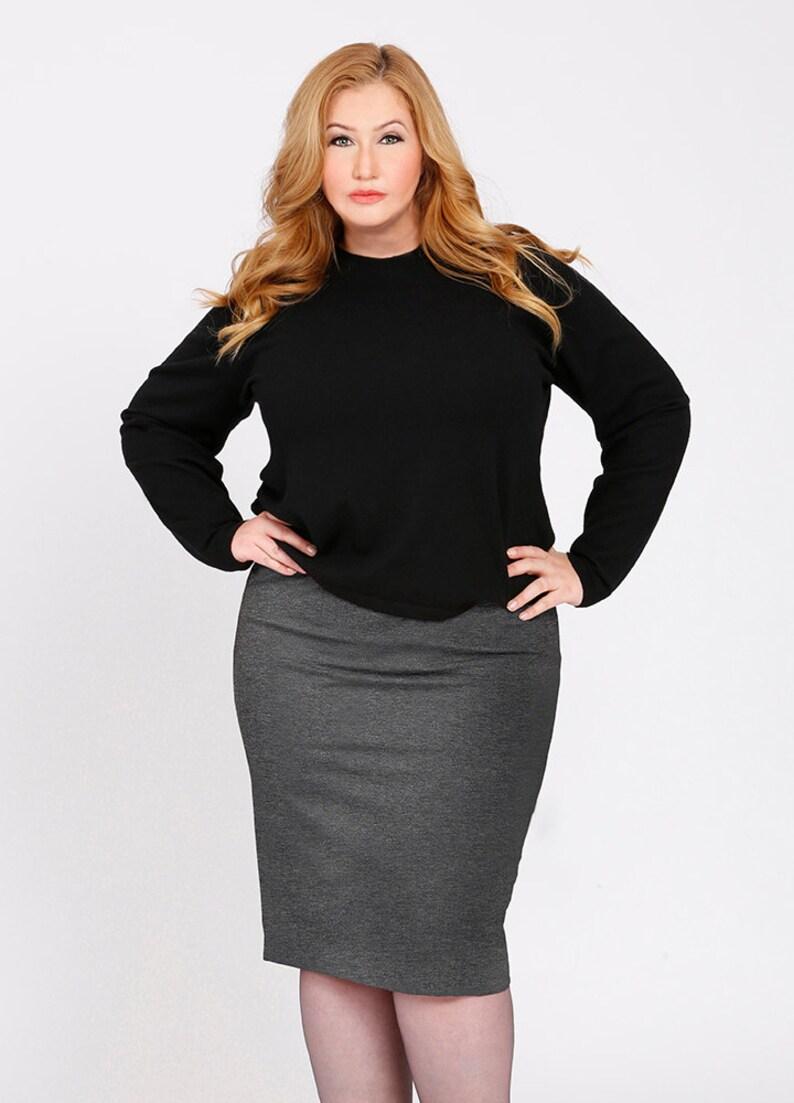 06b7cf841f0 OLIVIA Plus Size Pencil Skirt Curvy Career wear Ponte