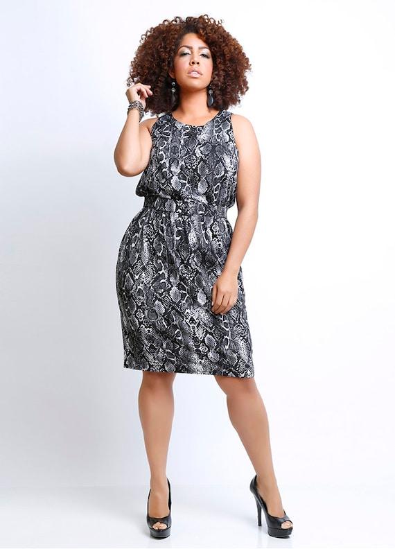 Sophia Animal Print Plus Size Sleeveless Dress Black White Etsy