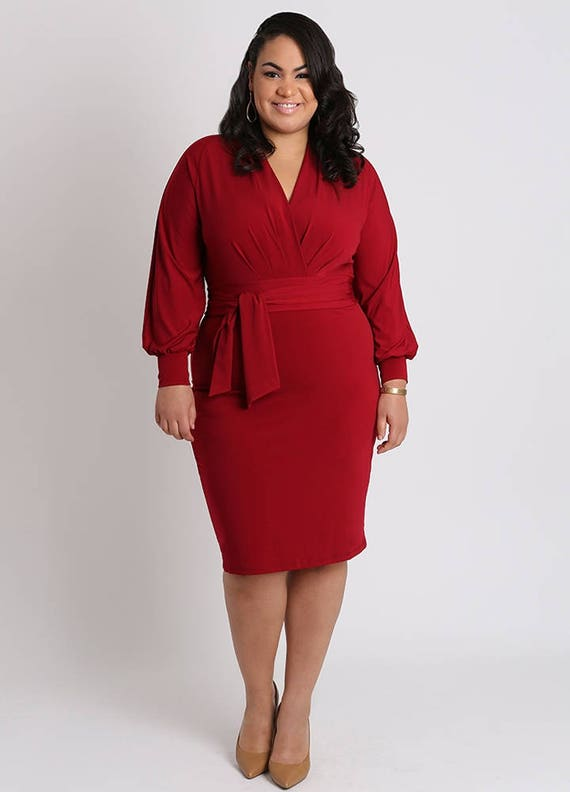 Valentina Plus Size Red Knit Dress Curvy Careerwear Sexy Etsy