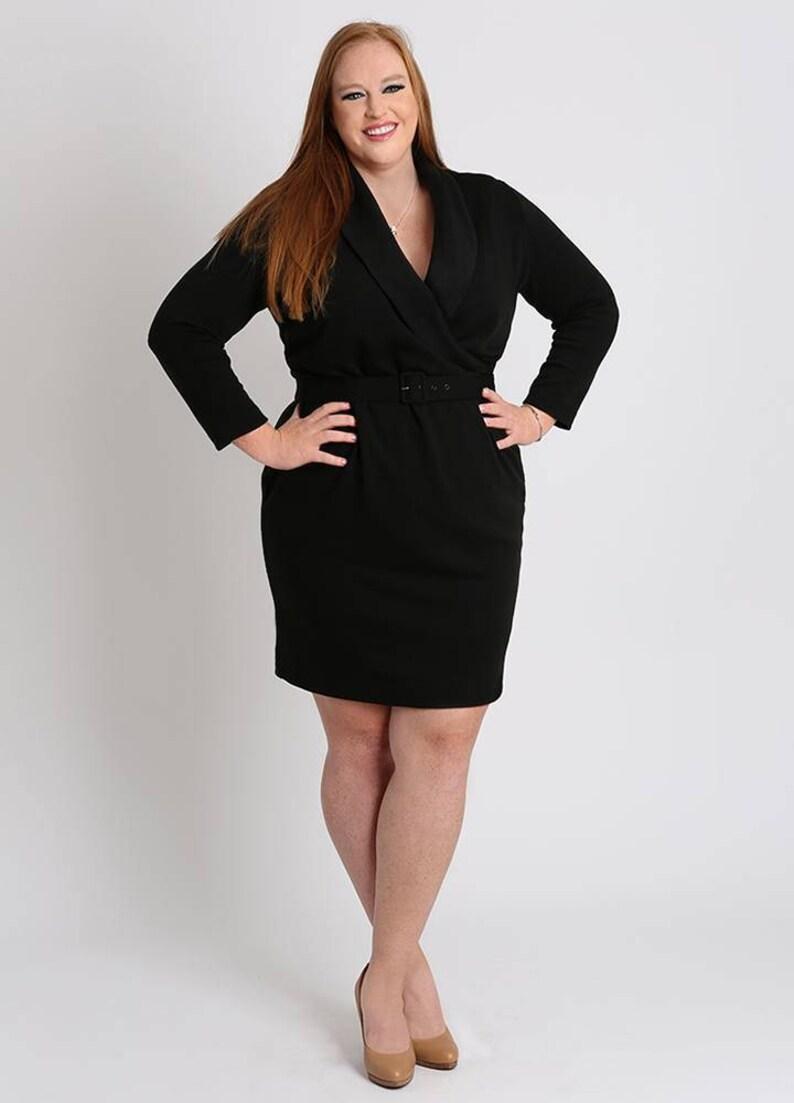JORDYN Plus Size Sweater Dress Curvy Wrap Dress Shawl Collar   Etsy