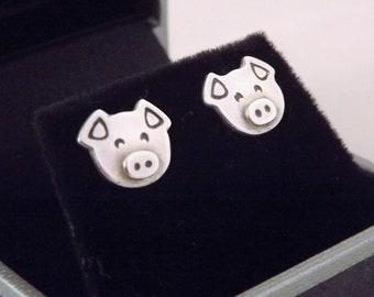 e6a78bd75 Pig Stud Earrings, Silver Farm Animal Jewellery, Silver Pig Earrings,  Handmade Silver Pig, Farm Animal Stud Earrings, Silver Pig Jewellery