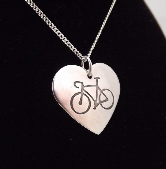 925 Sterling Silver Cycle Bike Cyclist Cycling Necklace Pendant Sports Lover