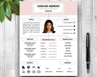 cv template professional resume template cover letter and etsy