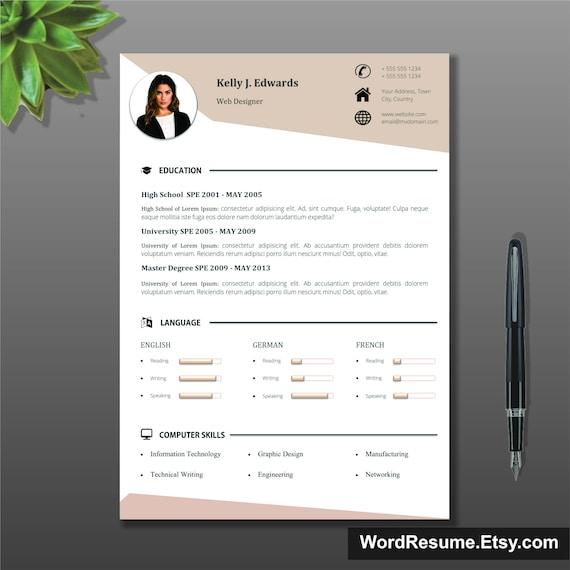 Resume Template Cv Template Cover Letter References And Portfolio For Ms Word Curriculum Vitae Lebenslauf Teacher Resume Modern Cv