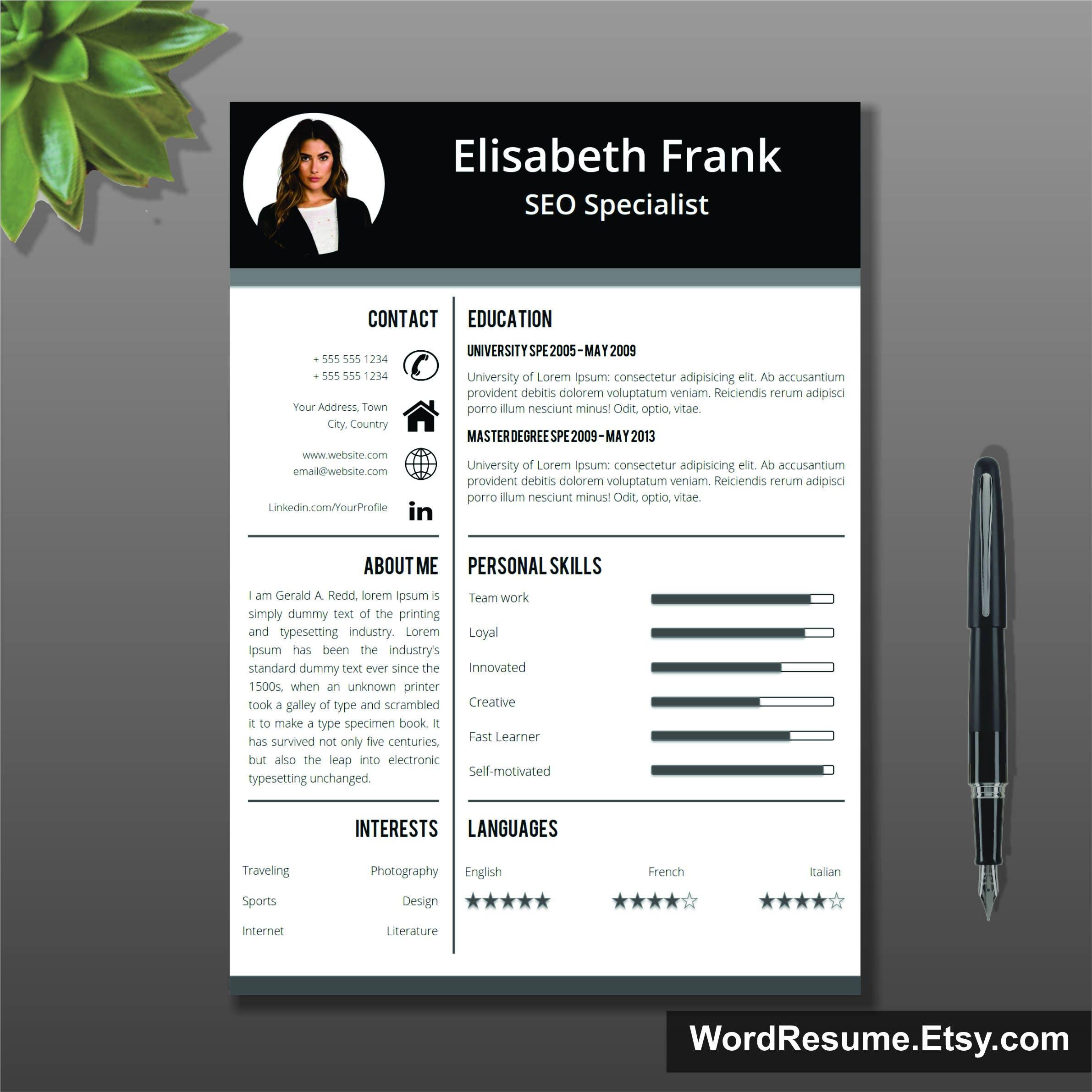 Creative Resume Template, Cover Letter Word, Curriculum Vitae, Professional  Resume Template Design, Lebenslauf, Teacher Resume Template, CV