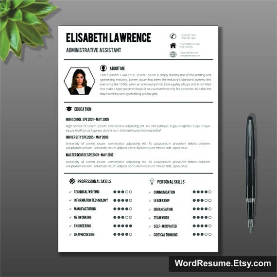 Resume Template With Photo Cover Letter Cv Template Word Lebenslauf Professional Creative Simple Resume Resume Format Cv Format Us