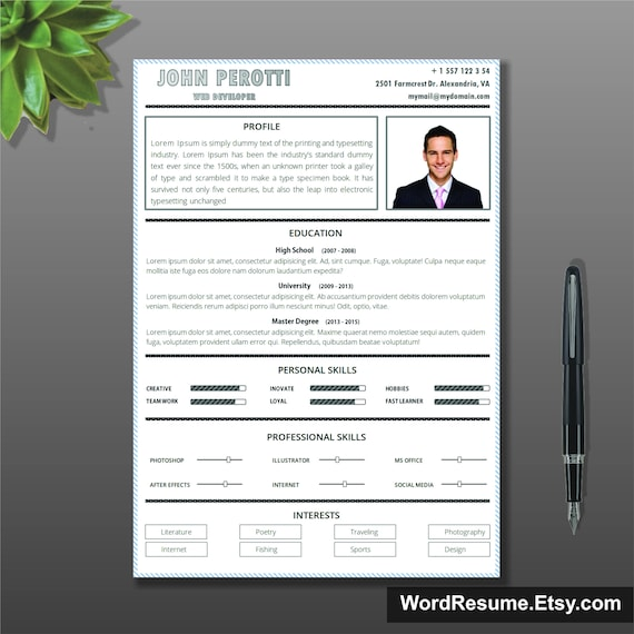 Simple Resume Template Cover Letter CV Instant