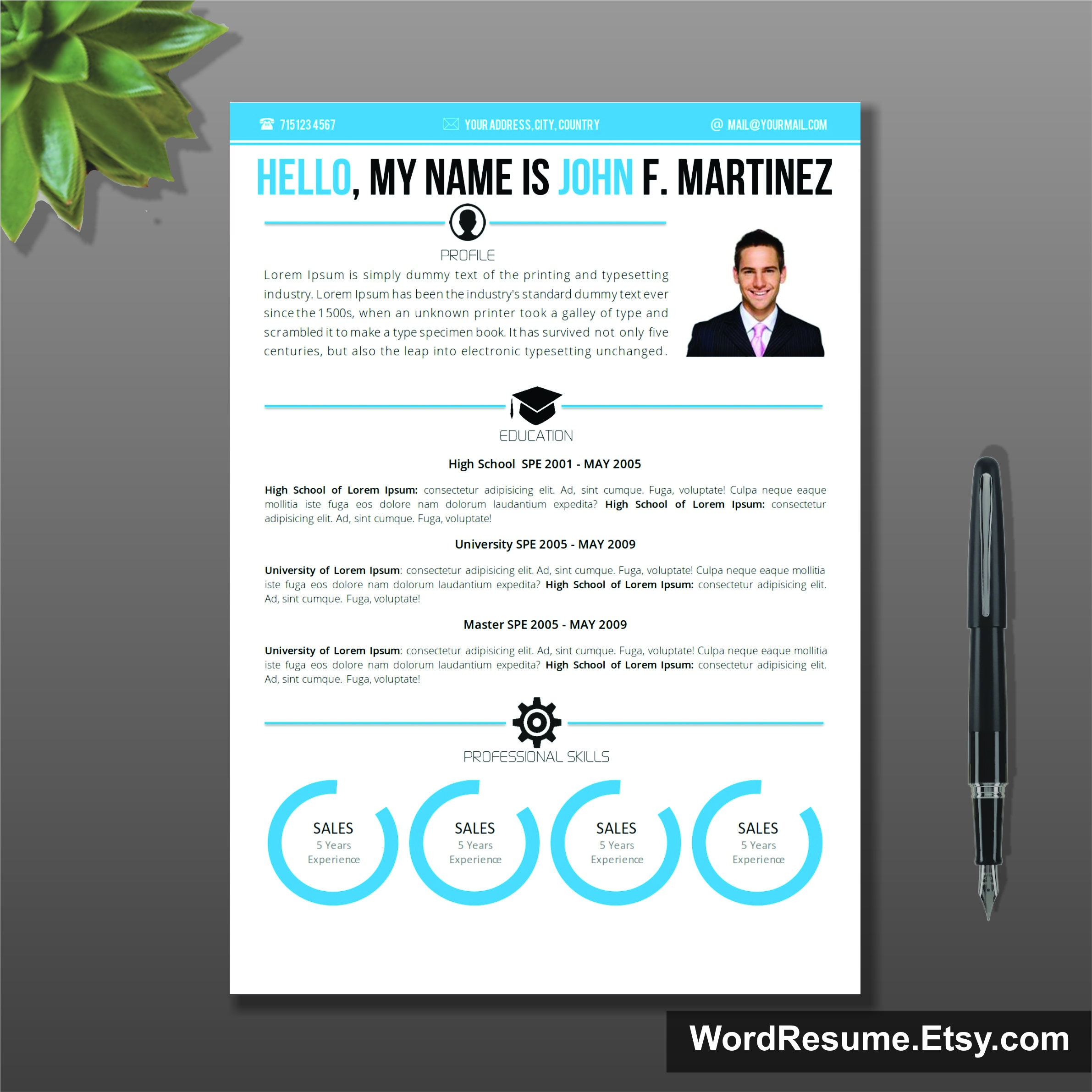 Microsoft Word Resume Template & Cover Letter CV Template