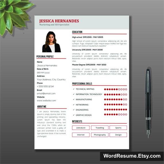 Clean Resume Template Cv Template Modern Resume Template Etsy