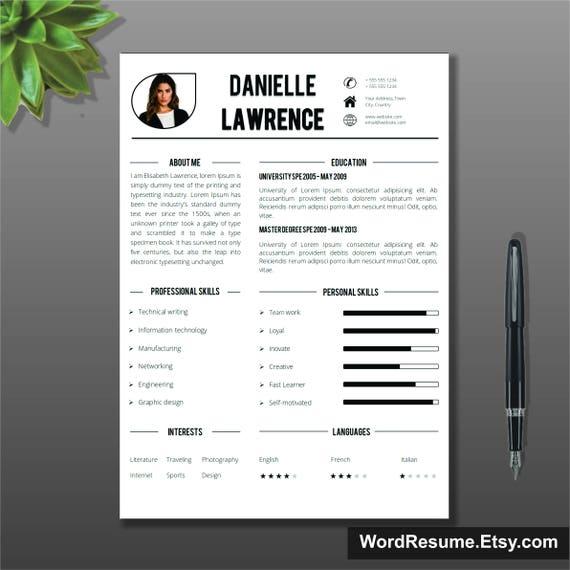 Modern Resume Template Cover Letter Word Cv Template Etsy