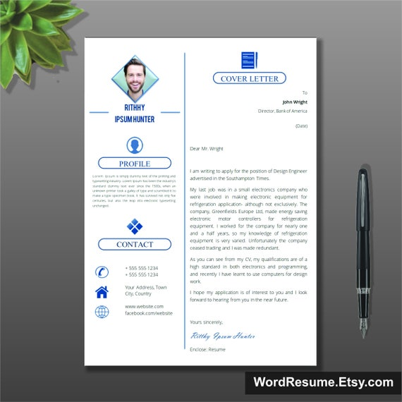 Simple Resume Template With Photo Cover Letter CV Template | Etsy