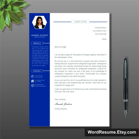 Resume Template With Photo Cover Letter / CV Template Word | Etsy