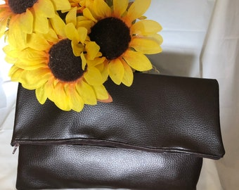 Brown, fold over, faux leather, clutch