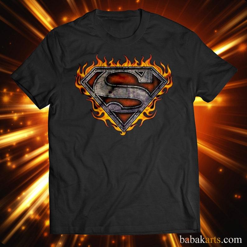 ecbb99276 Superman Fire Logo T-Shirt Superman Fire tee Superman